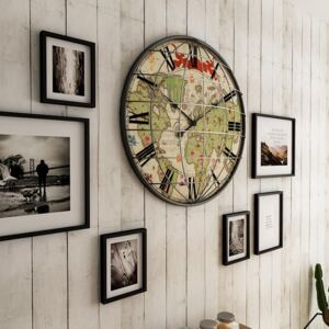 Vintage Style Map Print Wall Clock