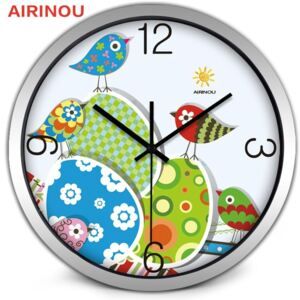 Modern Easter With Birds Printed Metal Wall Clock