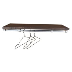 ZIITO RHS - Wall mounted clothes rail with wooden shelf