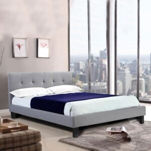 Hollywell Linen Fabric Single Bed In Grey