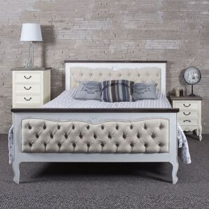 Heart White Fabric King Size Bed