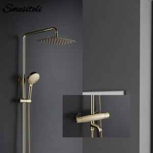 Thermostatic 3 Functions Golden Brass Faucet