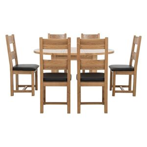 Furnitureland - California Solid Oak Round Extending Table and 6 Wooden Chairs
