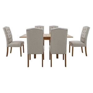 California Solid Oak Flip Top Extending Table and 6 Button Back Upholstered Chairs