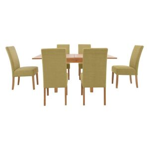 Furnitureland - California Solid Oak Flip Top Extending Table and 6 Fabric Chairs