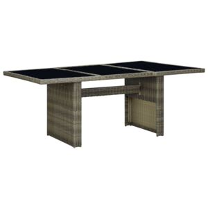 VidaXL Garden Table Brown Poly Rattan and Tempered Glass