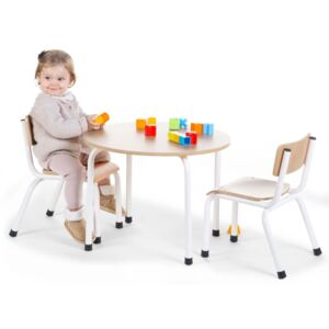 CHILDHOME Round Kids Table Wood Natural and White