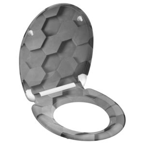 SCHÜTTE Toilet Seat with Soft-Close Quick Release GREY HEXAGONS