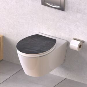 SCHÜTTE High Gloss Toilet Seat with Soft-Close BLACK STONE MDF