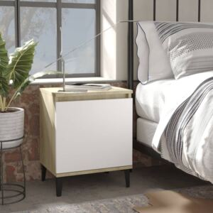 Bed Cabinet with Metal Legs Sonoma Oak and White 40x30x50 cm