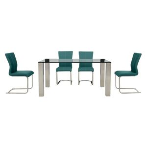 Ideas 160cm Dining Table with Grey Tabletop and 4 Dining Chairs with Square-Edged Cantilever Bases