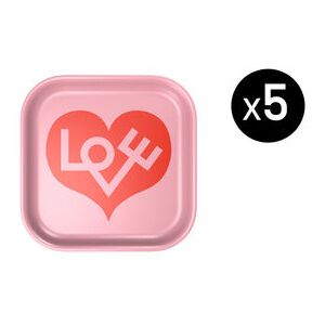Love Heart Small Tray - / Alexander Girard (1971) - Set of 5 / 28 x 28 cm by Vitra Pink/Red