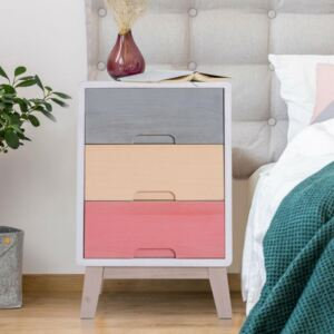 3 Drawers Colorful Chest & Bedside Table