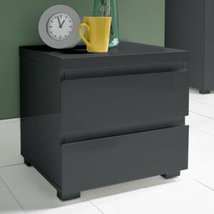 Puro Charcoal High Gloss 2 Drawer Bedside Cabinet