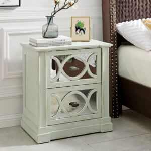 Modena Mirrored Panel 2 Drawers Side Table