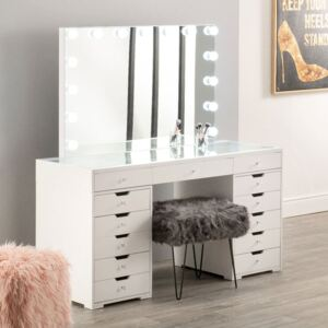 Hollywood White 7 Drawers Dresser With Mirror Set