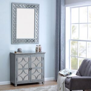 Russell Grey Painted 2 Doors Chest & Wall Mirror