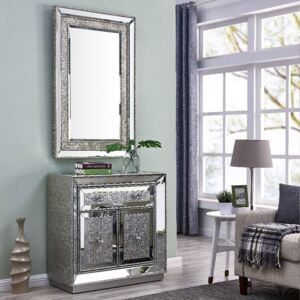 Sofia Silver Mirrored 2 Doors Chest & Wall Mirror