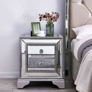 Sofia Silver Mirrored 2 Drawers Bedside Table