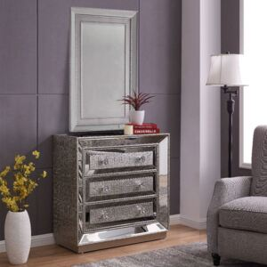 Sofia Silver Mirrored 3 Drawers Chest & Wall Mirror