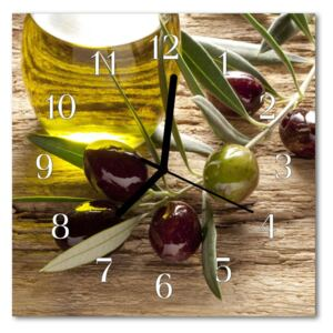 Glass Kitchen Clock Olive oil food and drinks green, brown 30x30 cm