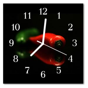 Glass Kitchen Clock Paprika food and drinks red 30x30 cm