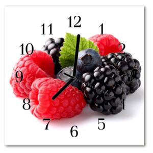 Glass Kitchen Clock Berry food and drinks red, black 30x30 cm