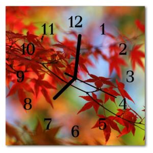 Glass Kitchen Clock Maple leaves flowers & plants red 30x30 cm
