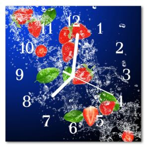 Glass Kitchen Clock Strawberries food and drinks red, blue 30x30 cm