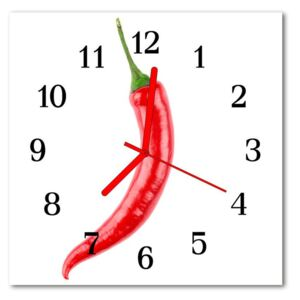 Glass Kitchen Clock Chilli food and drinks red 30x30 cm