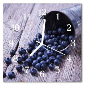 Glass Kitchen Clock Blueberries food and drinks blue 30x30 cm