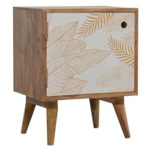 Ravicon Leaf Screen Printed Bedside Table