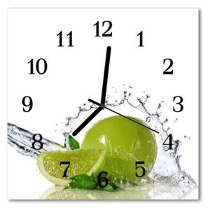Glass Kitchen Clock Lime water food and drinks green 30x30 cm