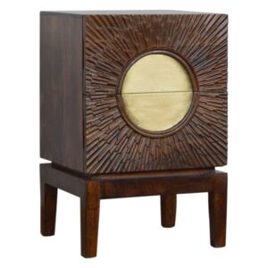 Nero Gold & Chestnut Finish 2 Drawers Bedside Table
