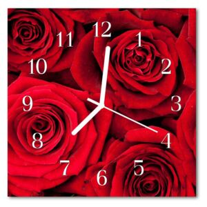 Glass Kitchen Clock Roses flowers & plants red 30x30 cm