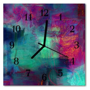 Glass Kitchen Clock Colorful painting art multi-coloured 30x30 cm
