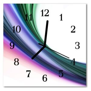 Glass Kitchen Clock Abstract lines art multi-coloured 30x30 cm