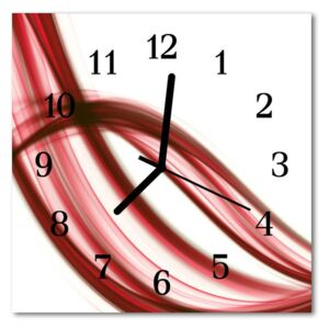 Glass Kitchen Clock Abstract lines art red 30x30 cm