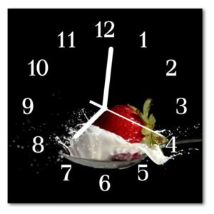 Glass Kitchen Clock Strawberry food and drinks black, red 30x30 cm