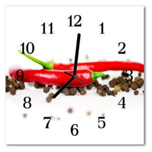 Glass Kitchen Clock Paprika pepper food and drinks red 30x30 cm