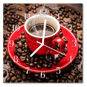 Glass Kitchen Clock Coffee pot food and drinks red, brown 30x30 cm