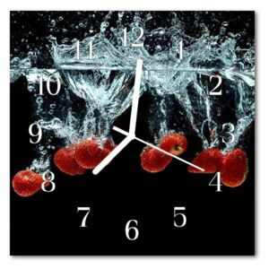 Glass Kitchen Clock Strawberries food and drinks red, black 30x30 cm