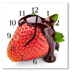 Glass Kitchen Clock Strawberry chocolate food and drinks red, brown 30x30 cm