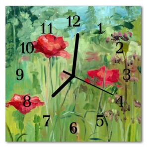 Glass Kitchen Clock Poppies flowers & plants red, green 30x30 cm
