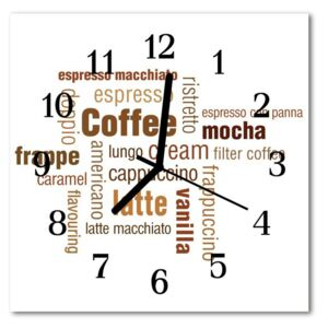 Glass Kitchen Clock Coffee food and drinks brown 30x30 cm