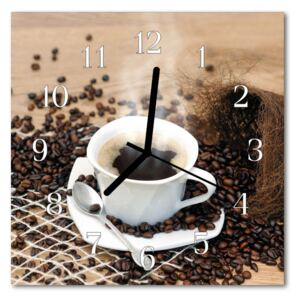 Glass Kitchen Clock Cup of coffee food and drinks brown 30x30 cm