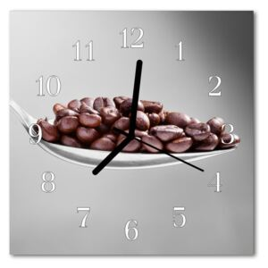Glass Kitchen Clock Spoon of coffee food and drinks brown 30x30 cm