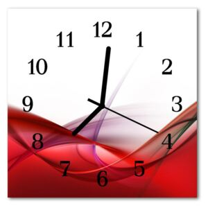 Glass Kitchen Clock Abstract art red 30x30 cm