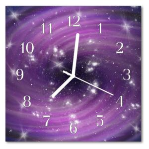 Glass Kitchen Clock Abstract abstract art purple 30x30 cm