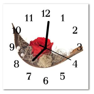 Glass Kitchen Clock Rose flowers red 30x30 cm